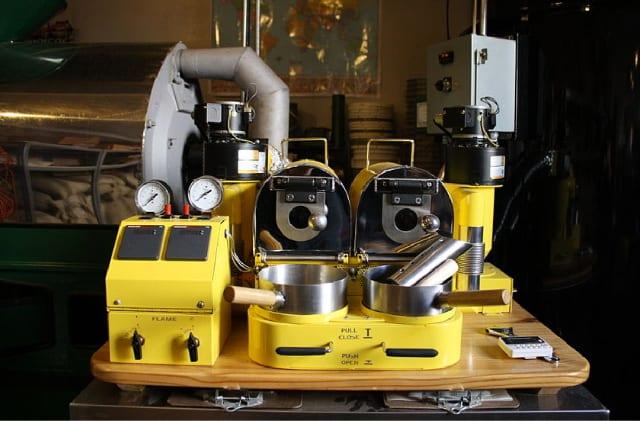 Um torrador de amostras de café.
