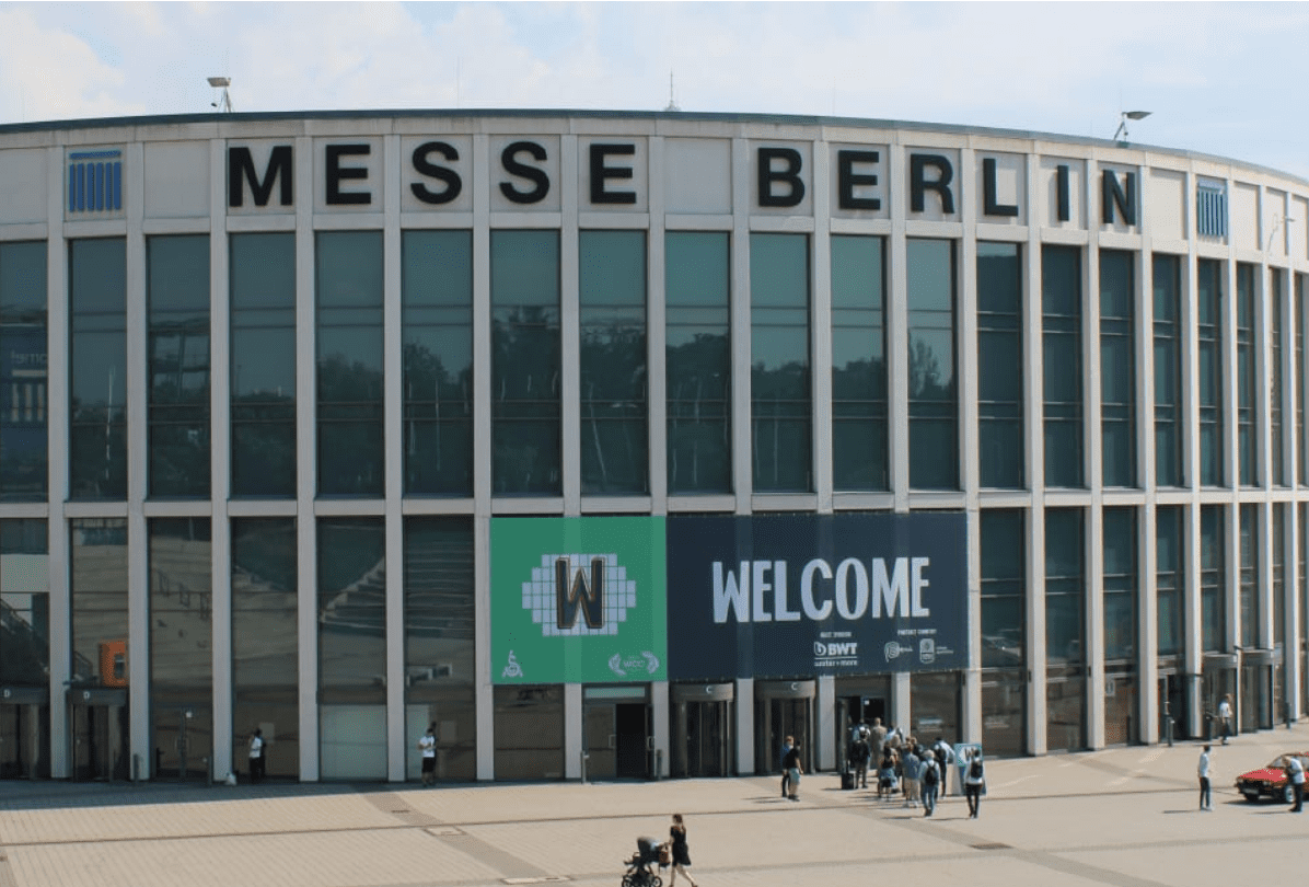 Entrance for the World of Coffee 2019 in Berlin