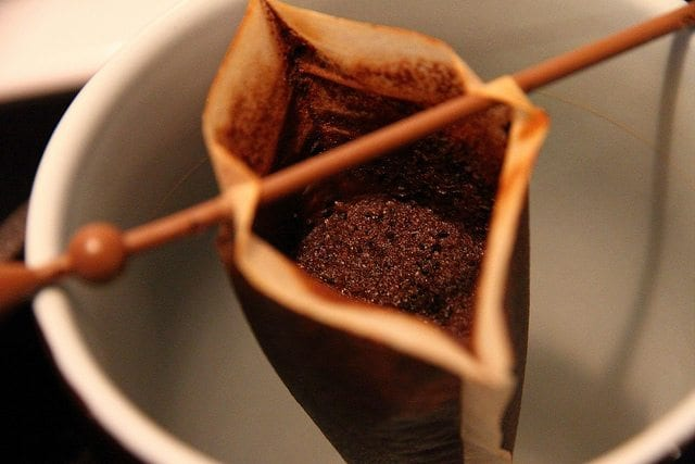 Used coffee grounds in filter