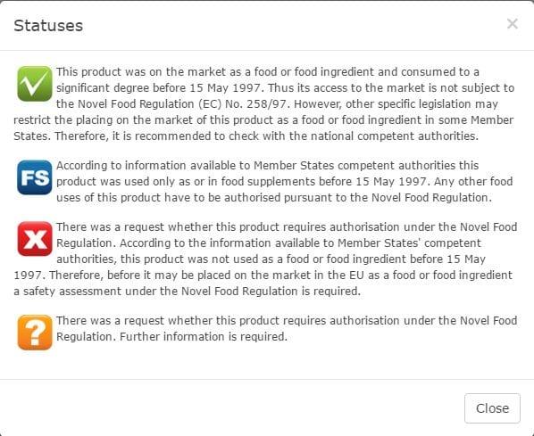 EU Novel Food Status Definitions