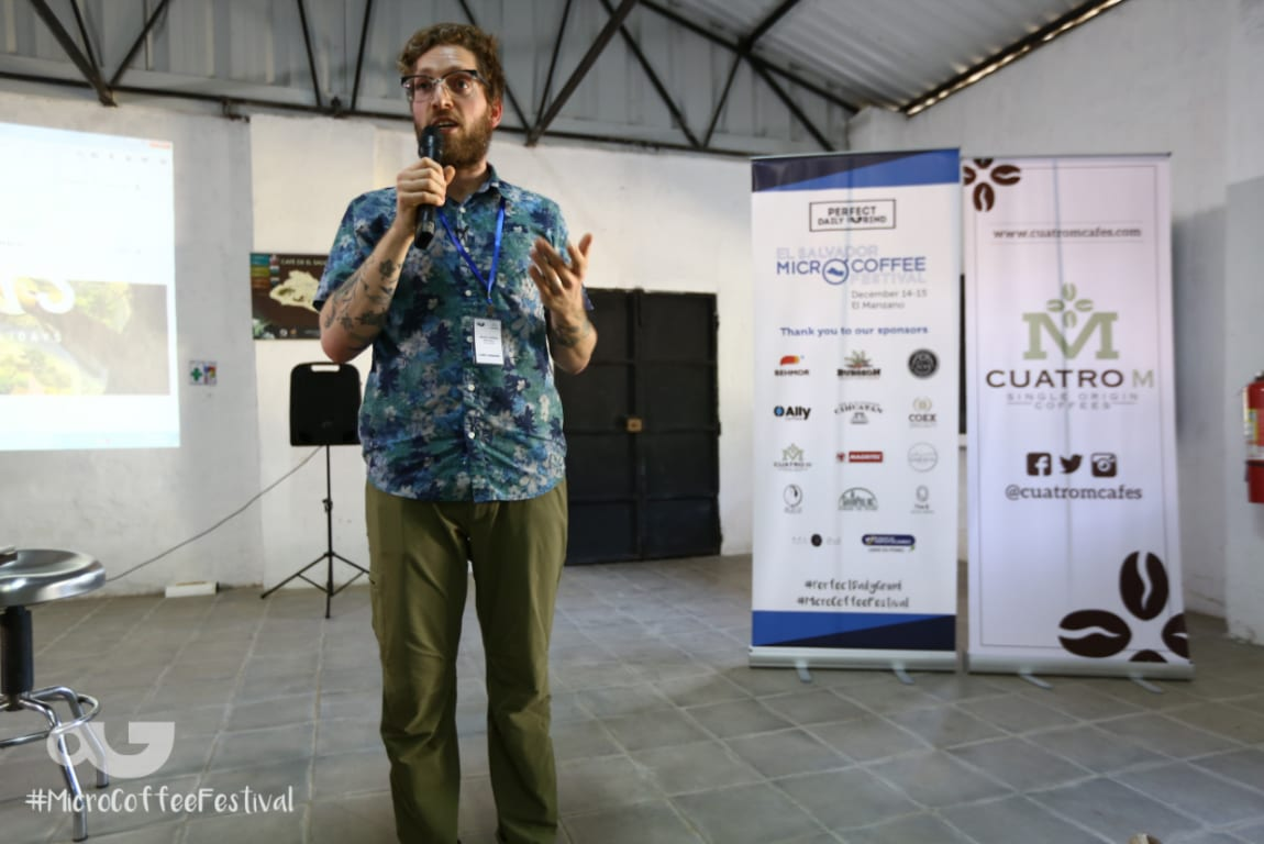 Jared Linzmeier speaking on roasting coffee