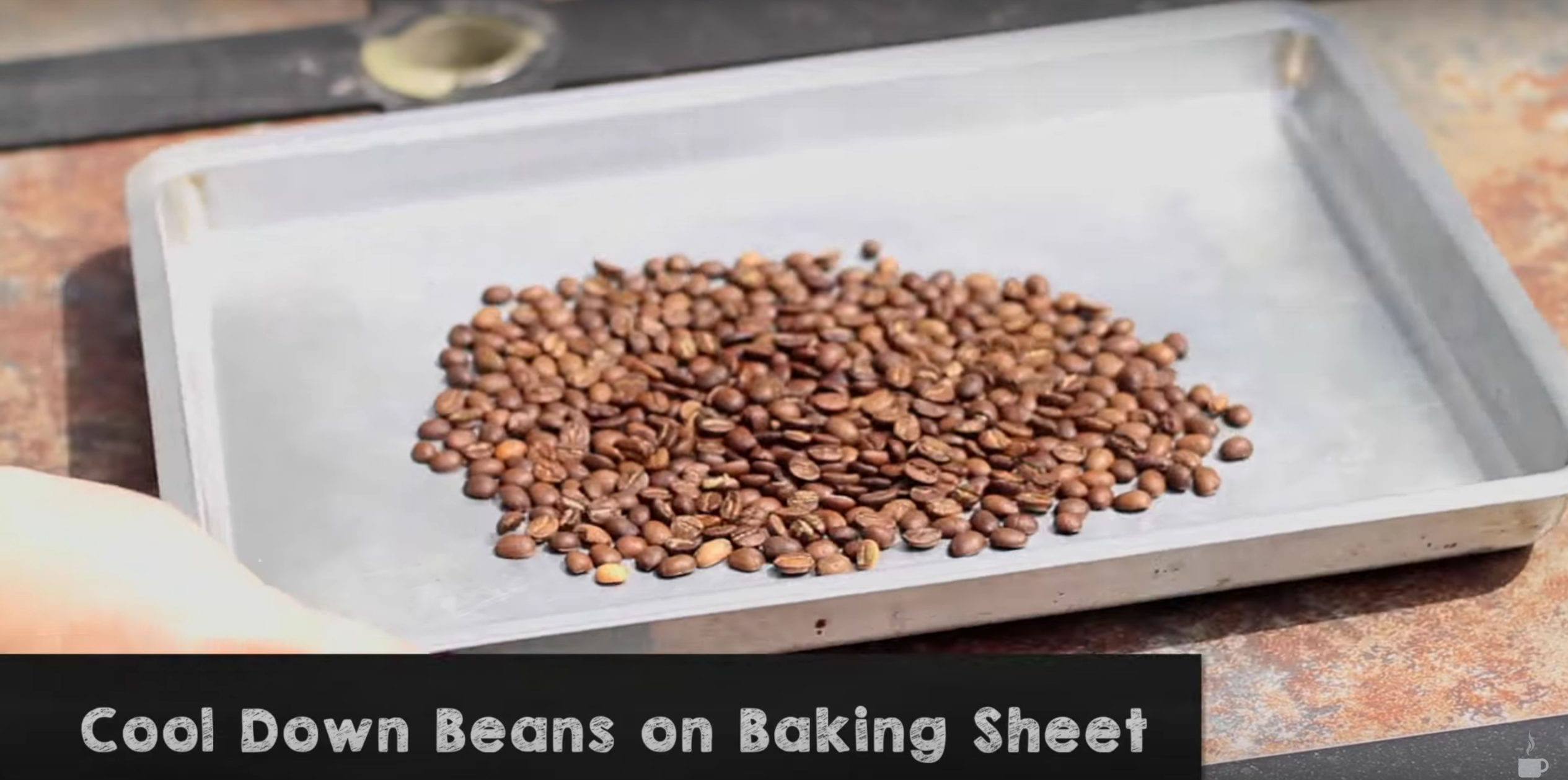 roasted coffee on baking tray