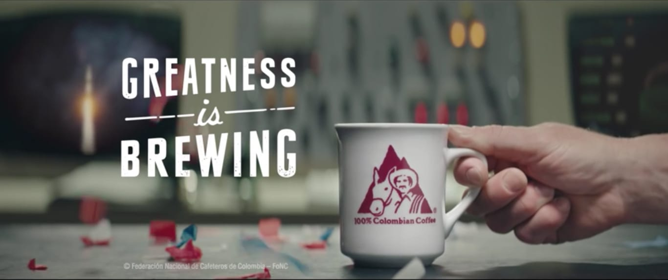 Greatness is brewing slogan and Juan Valdez mug