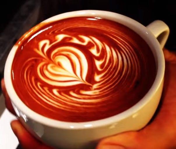Bleeding heart latte art