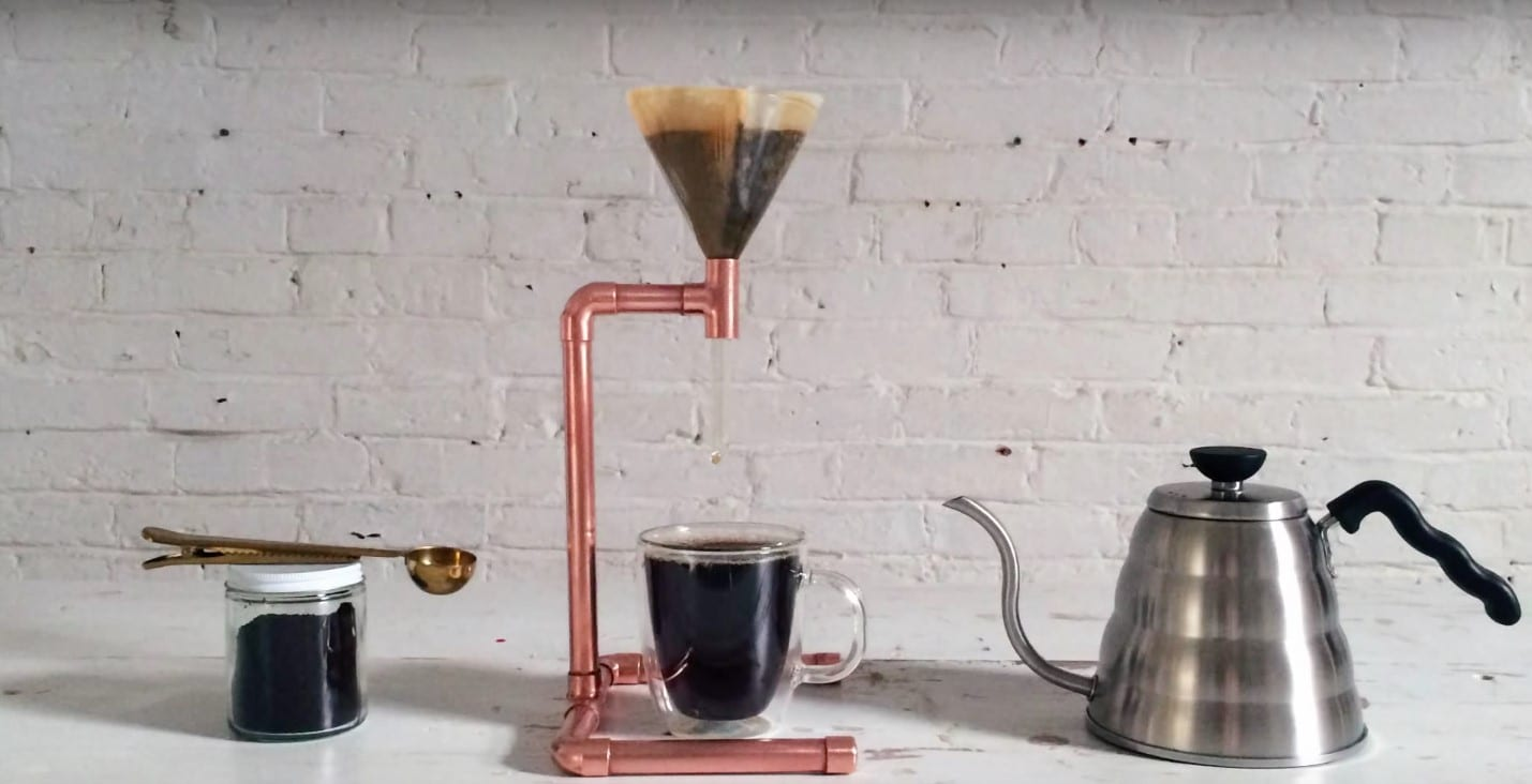 DIY pour over device being used to make coffee