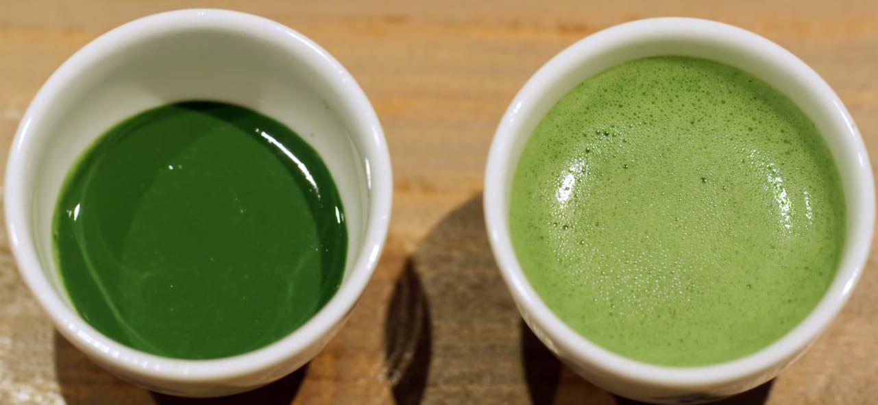Thick (koicha) and thin (usucha) matcha green tea