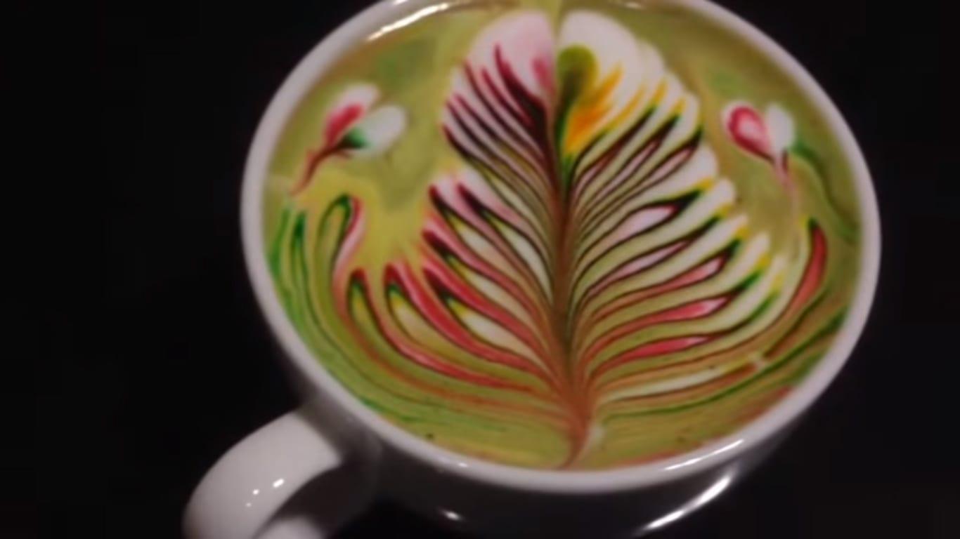 rainbow latte art
