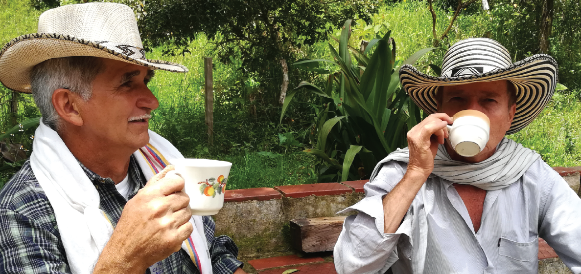 Farmers drinking coffee made with their coffee beans