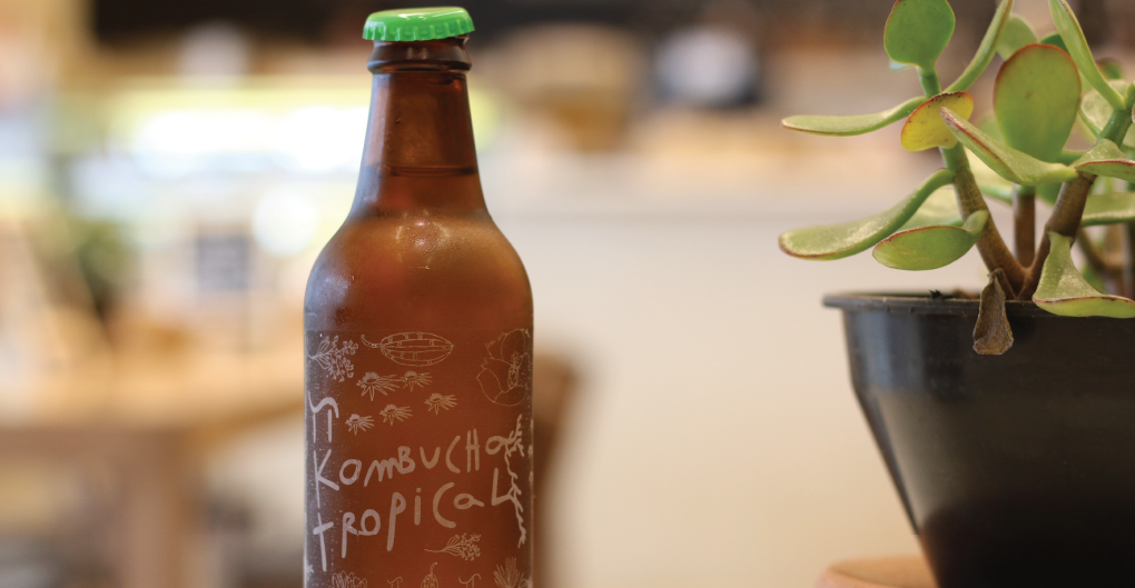 Bottle with kombucha