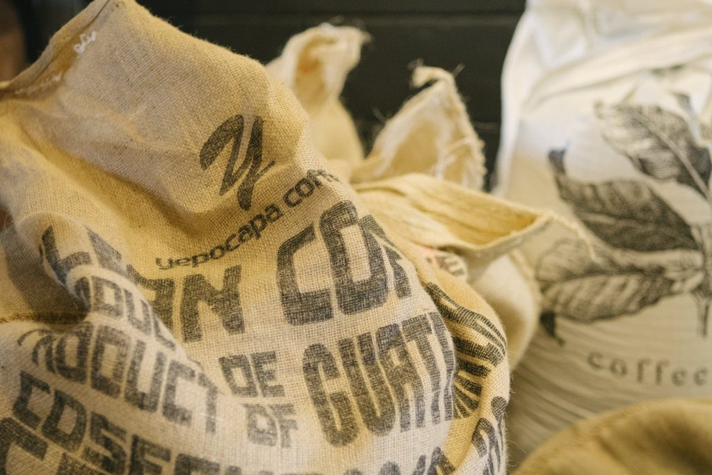 coffee bags at roastery