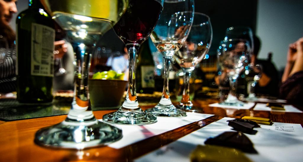 Glasses of wine in restaurant table