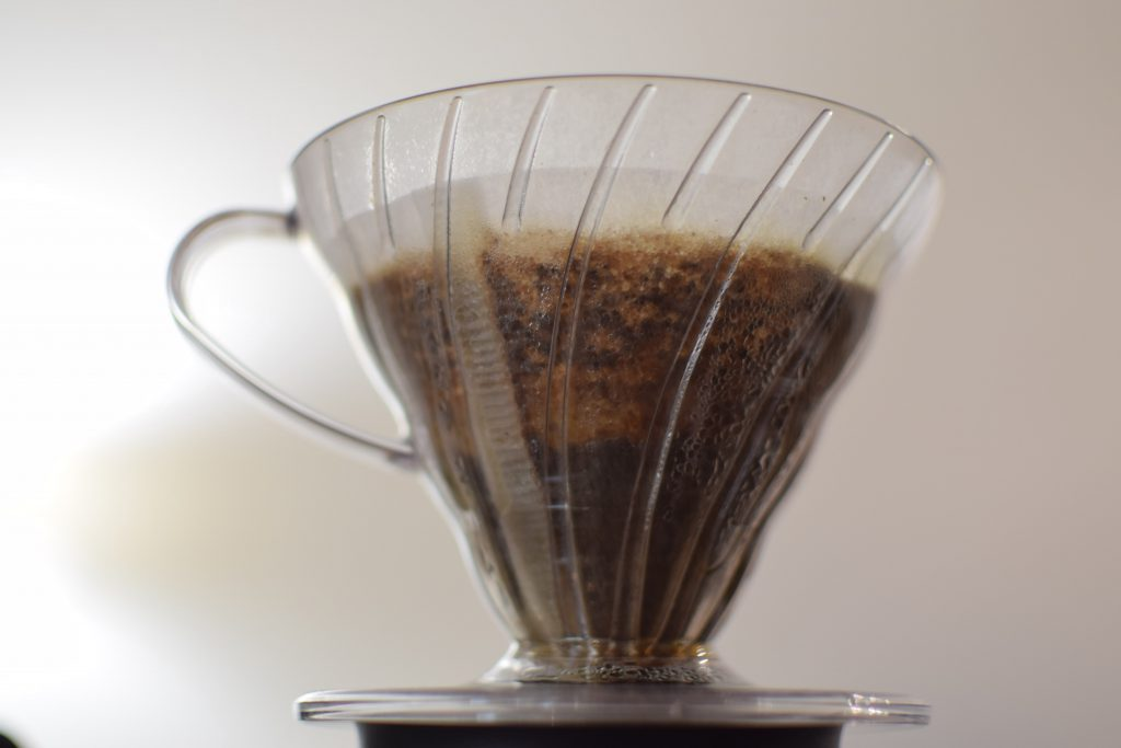 coffee being brewed on hario v60
