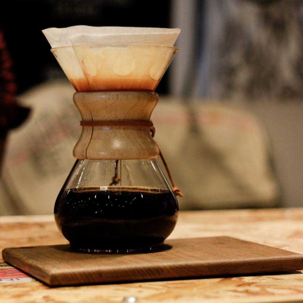 Decaffeinated coffee brewed in Chemex