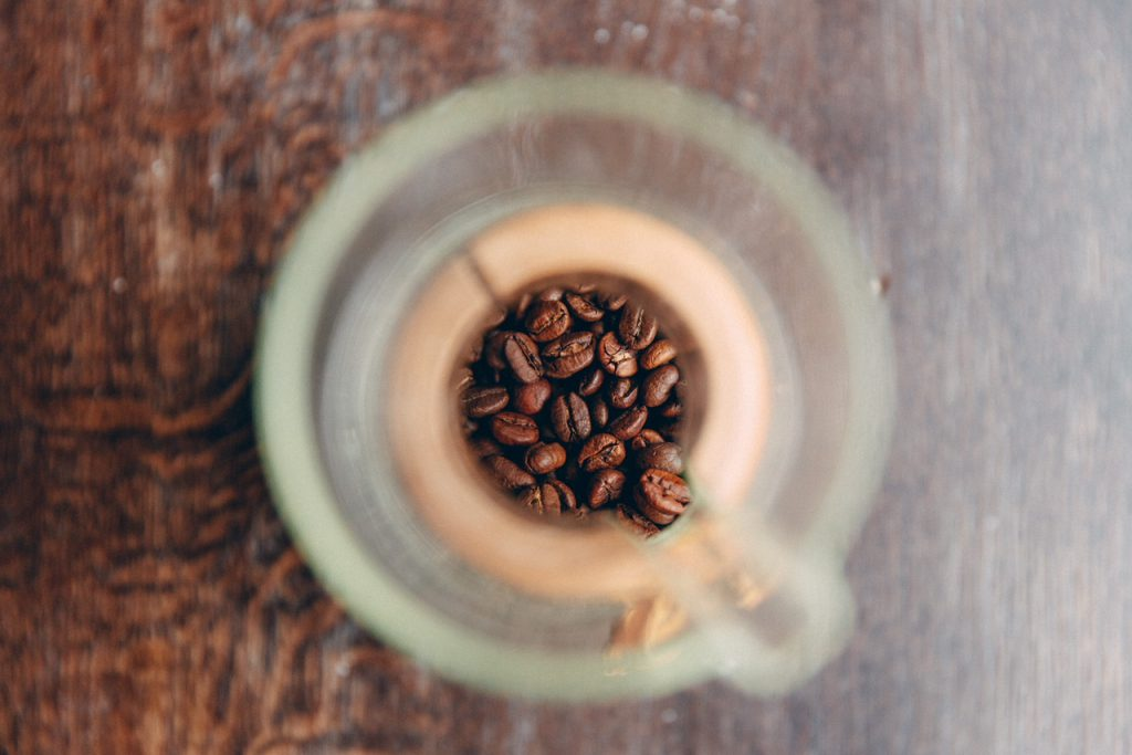 Roasted decaf coffee beans