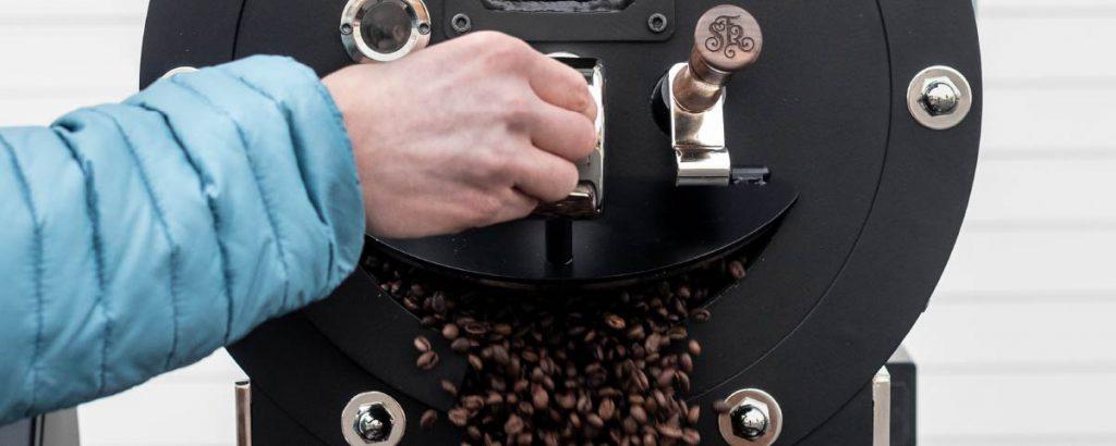 A black roasting machine