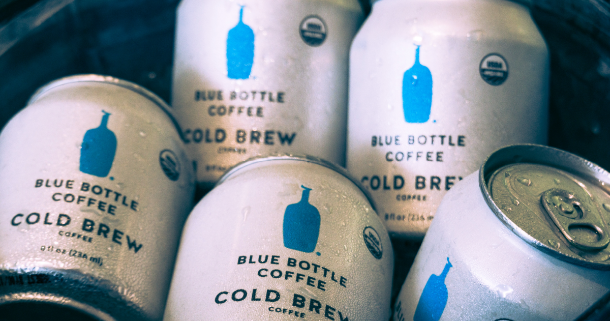 Cans of Blue Bottle cold brew