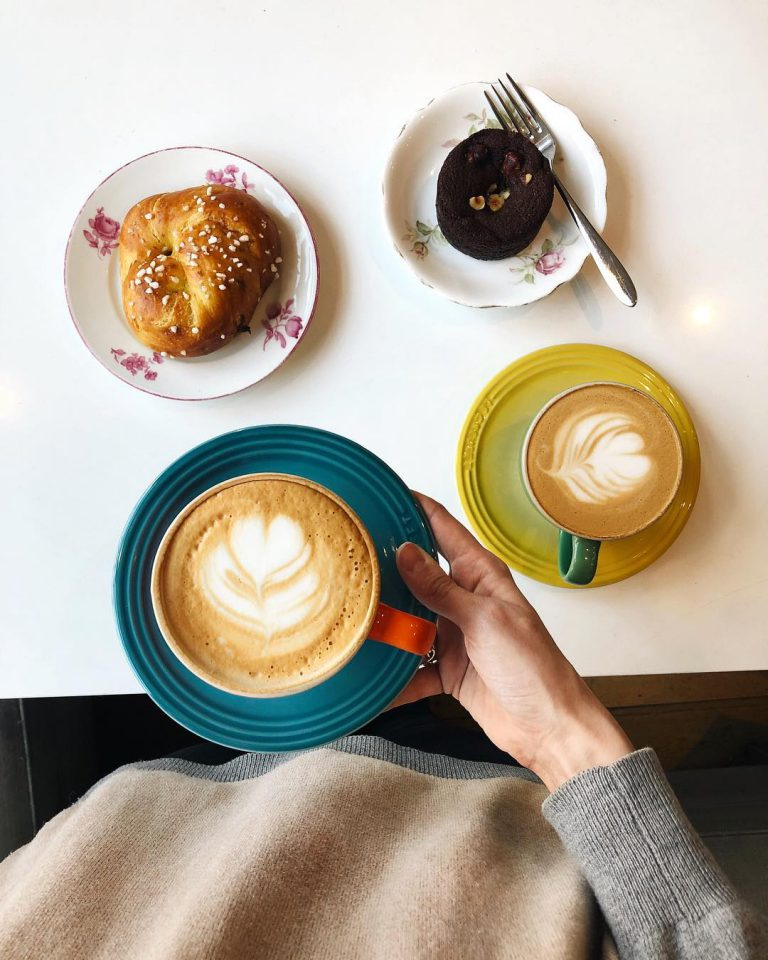 coffee drinks with milk and pastries