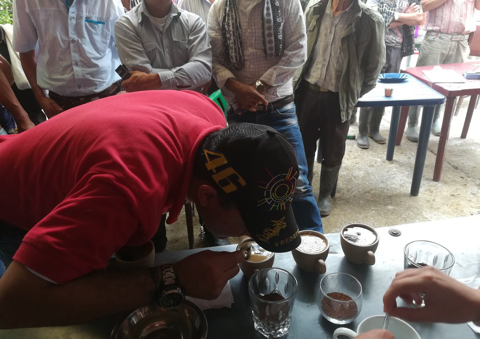 Producers doing a cupping of their coffee