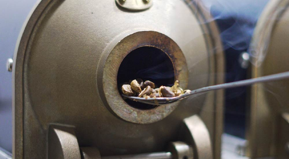 Coffee sample being roasted.