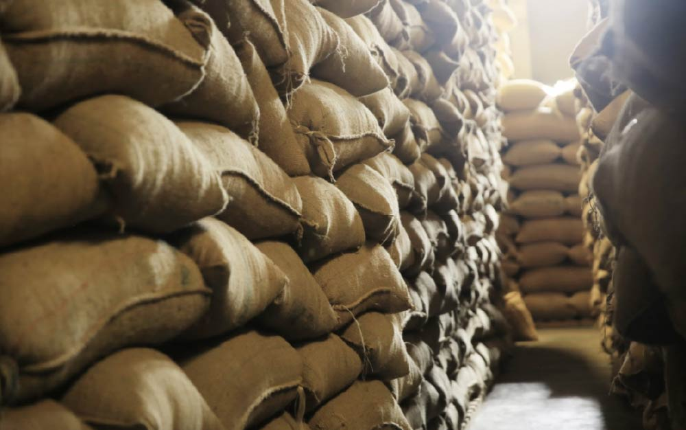 Green coffee bags in a warehouse.