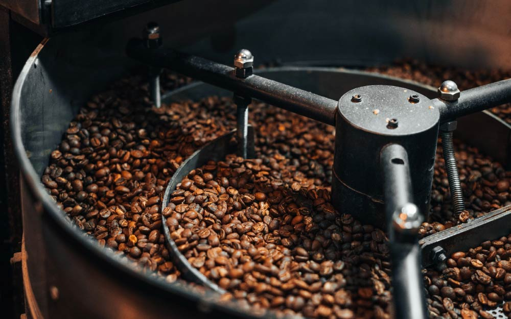 Freshly roasted beans cooling down.