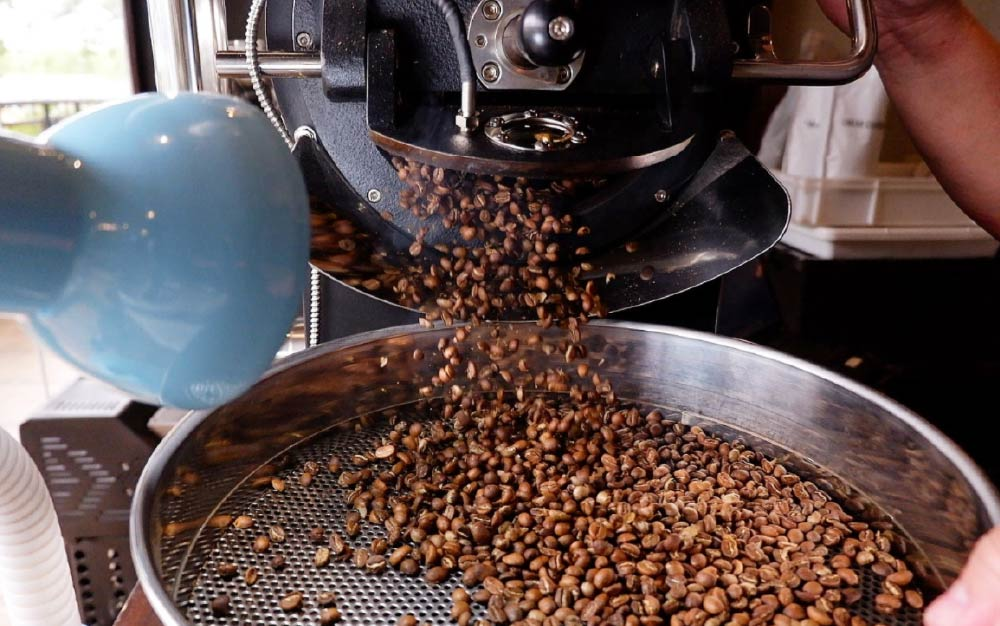 Roatsed coffee beans falling into the cooling tray