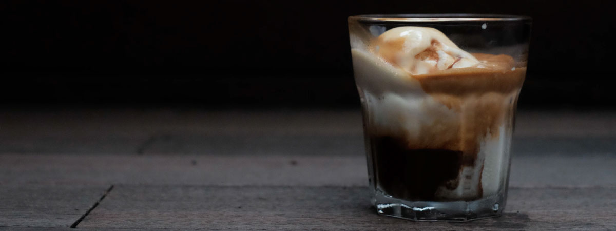 Glass with coffee and ice cream