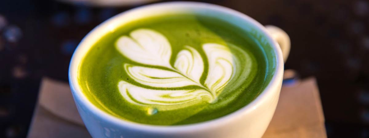 Latte arte of a Matcha Latte