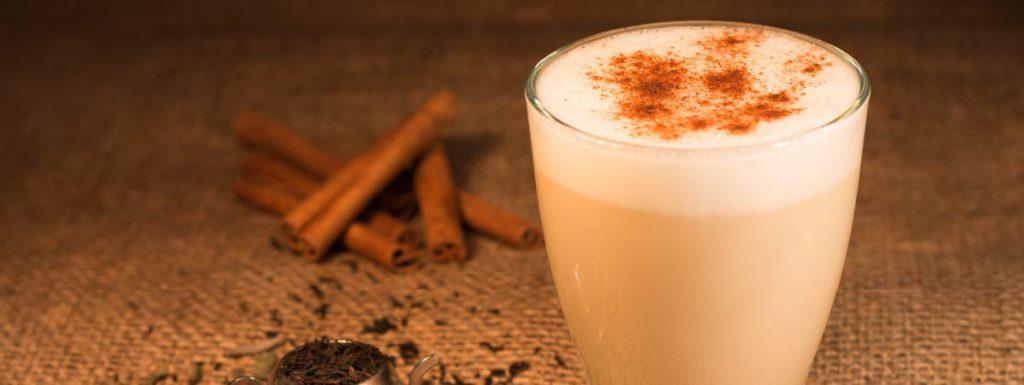Glass of chai latte