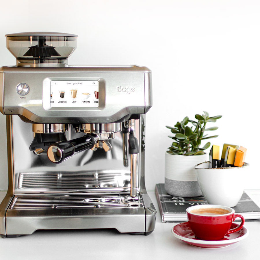 Homelike GRey Sage espresso machine and a red cup, home coffee machine
