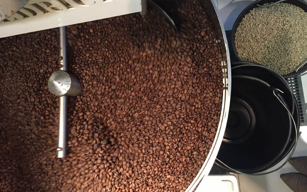 Roasted coffee beans cooling in the drum (ventilation)