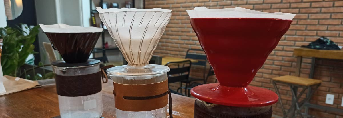 Three different types of V60 brewers