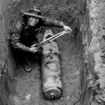 A woman discovering obects underground