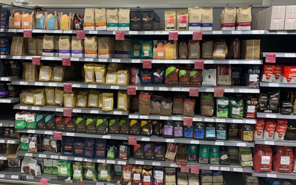 café en un supermercado