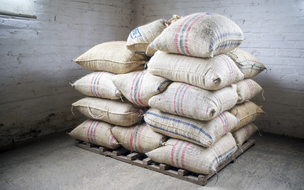 coffee sacks on pallet