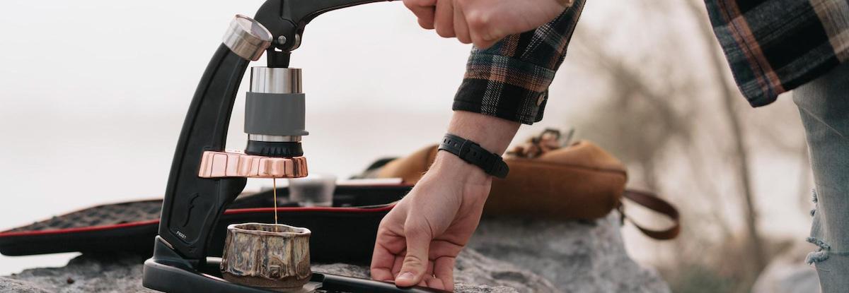 man using espresso press
