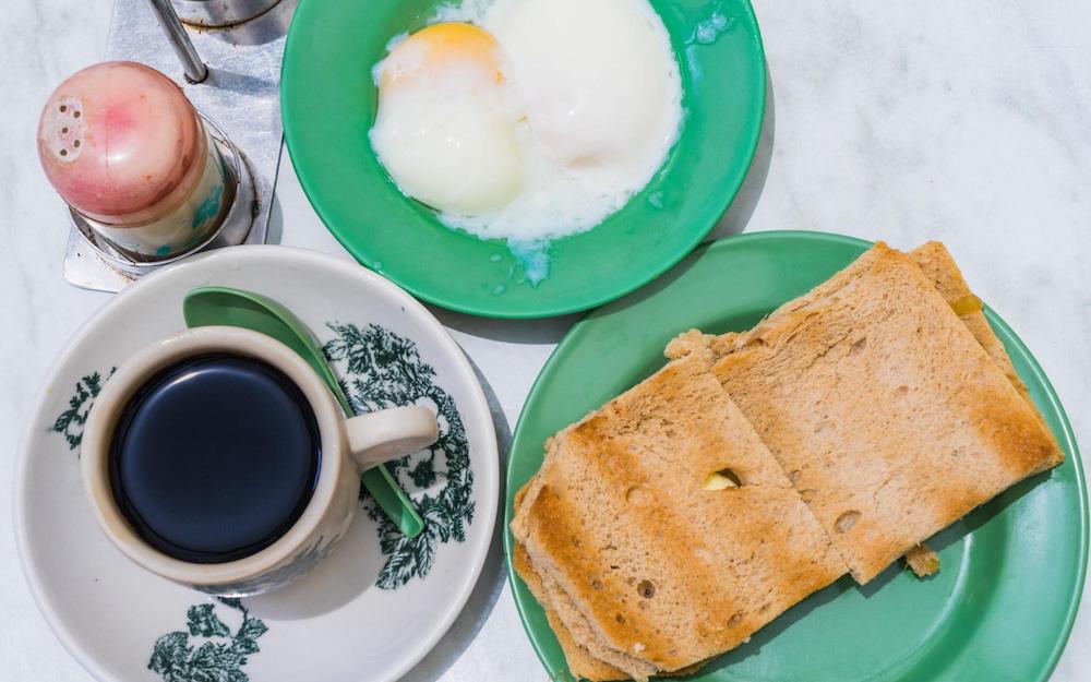 toast, egg, coffee
